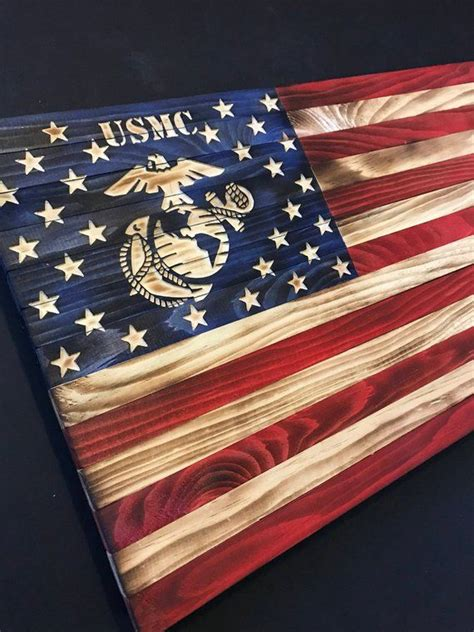 wooden american flag  marine logo etsy wooden