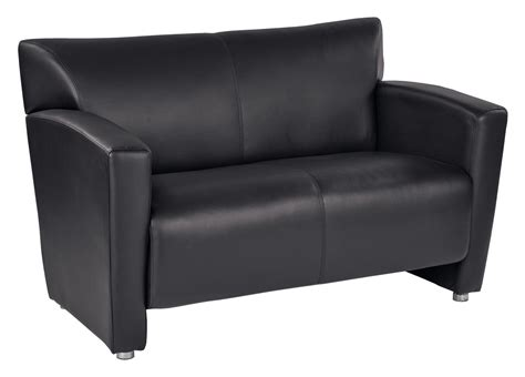 Black Faux Leather Loveseat by Black Faux Leather Loveseat With Silver Finish Legs