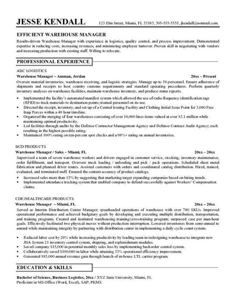 20746 exle of a warehouse resume 7 resume objective for warehouse worker sle resumes