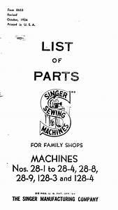 Singer Sewing Machine Parts List