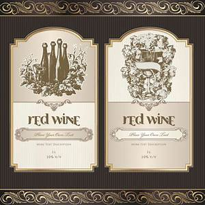 free vector wine labels collection free vector download With free wine label template photoshop