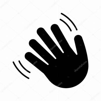 Waving Emoji Hand Gesture Wave Silhouette Icon