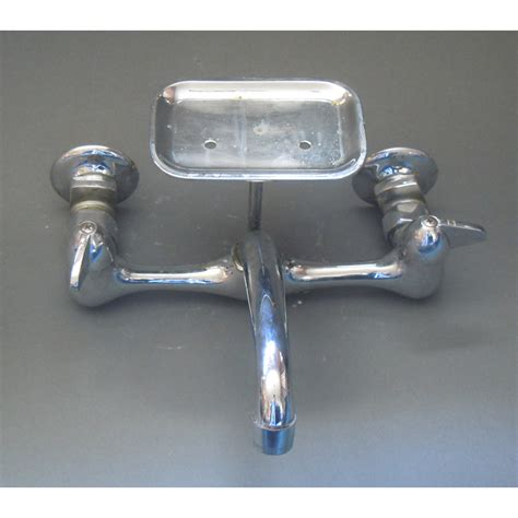 wall mounted kitchen faucet with soap dish vintage chrome wall mounted kitchen faucet with attached