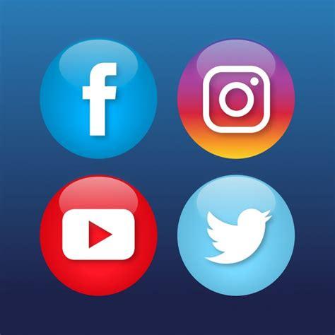Free Social Media Icons Four Social Media Icons Vector Free