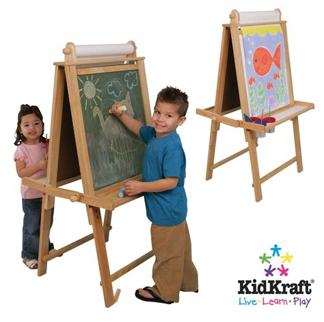 kidkraft deluxe wood easel in nautral