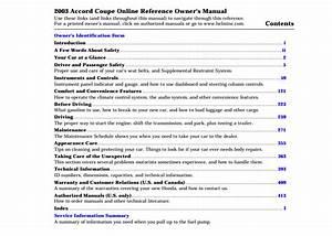 2003 Honda Accord Coupe Owner U2019s Manual
