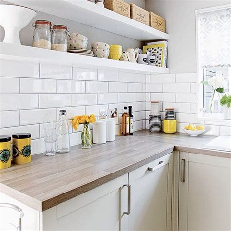 yellow tiles kitchen open shelves subway tiles wood worktop cozinha 1224