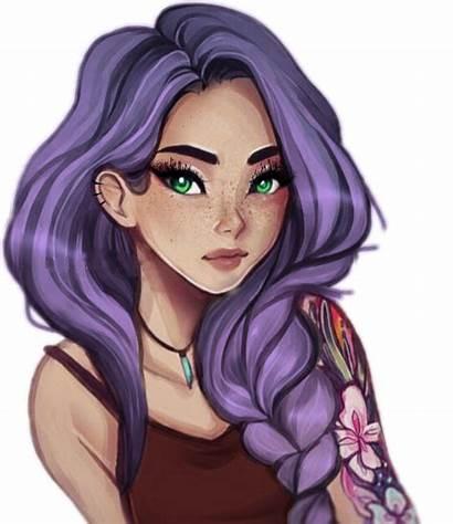 Drawing Makeup Tattoos Portrait Cartoon Purple Aesthetic