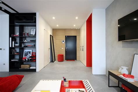 chic pops  red bring energy   black  white apartment