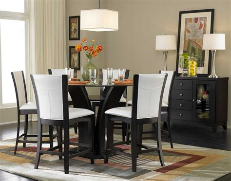 pictures of dining room tables homelegance daisy round glass top counter height dining