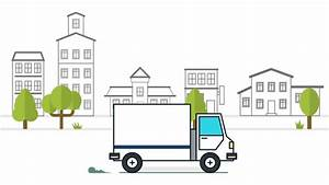 Delivery Truck Animation Against The Background Of City 2d