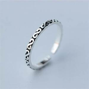 925 thai silver rings for women adjustable letter ring With letter rings jewelry