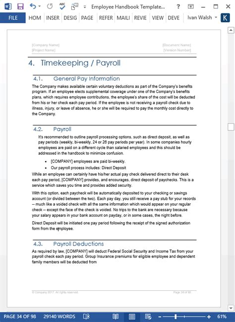 employee handbook template ms wordexcel templates