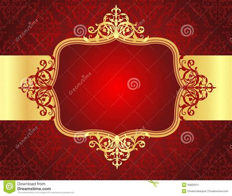 wedding invitation background  red damask patt stock