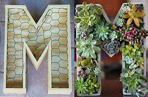 10 inch diy unfinished succulent monogrammed initials With wooden letter planter