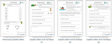 worksheets  capital letters  full stops  grade