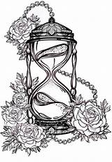 Hourglass Tattoo Roses Drawing Hand Drawn Romantic Tattoos Vector Hour Celestial Drawings Clock Alchemy Symbol Mystic Illustration Coloring Adult Rosalie sketch template
