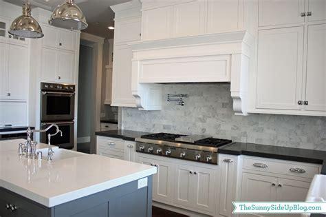 tumbled marble backsplash my kitchen the side up