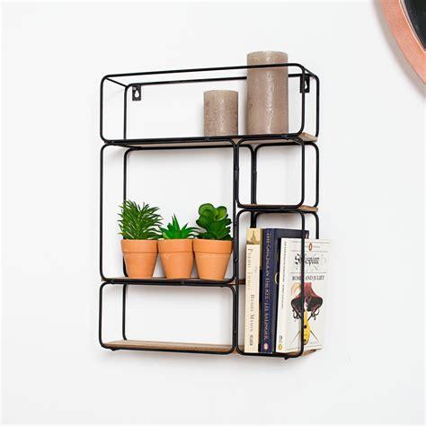 rectangle black wire wood art deco retro wall shelf unit