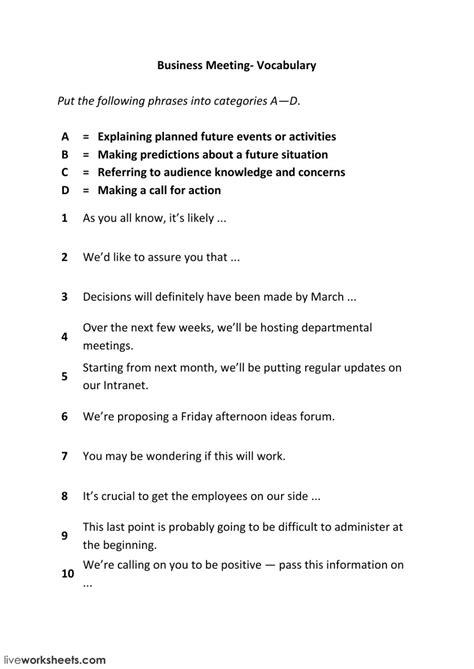business meetings phrases  interactive worksheet
