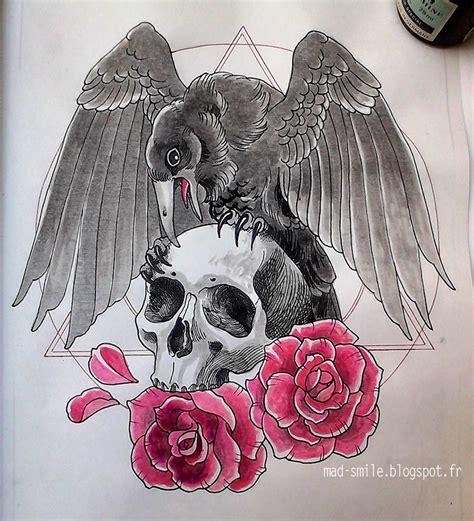 tattoo skull crow  roses  mad smile  deviantart
