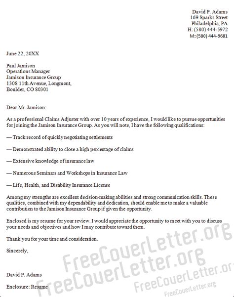 Claims Adjuster Cover Letter Sample
