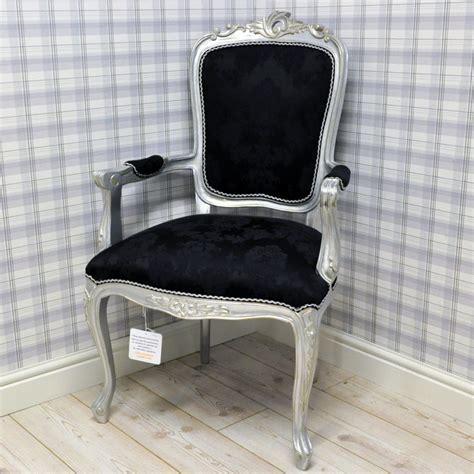 Antique Silver Black Damask Louis Xv Arm Chair   Minster