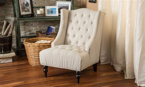 clarice wingback tufted fabric accent chair groupon