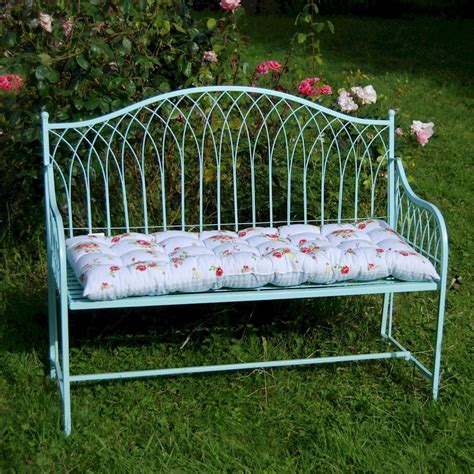 shabby chic garden bench shabby chic rustic garden bench steel in blue or cream savvysurf co uk