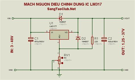 Led Len 3v by Mạch Nguồn điều Chỉnh D 249 Ng Ic Lm317 C 226 U Lạc Bộ S 225 Ng Tạo