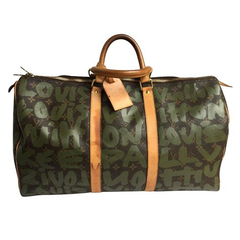 louis vuitton keepall travel bag  green printed monogrammed canvas  chic selection