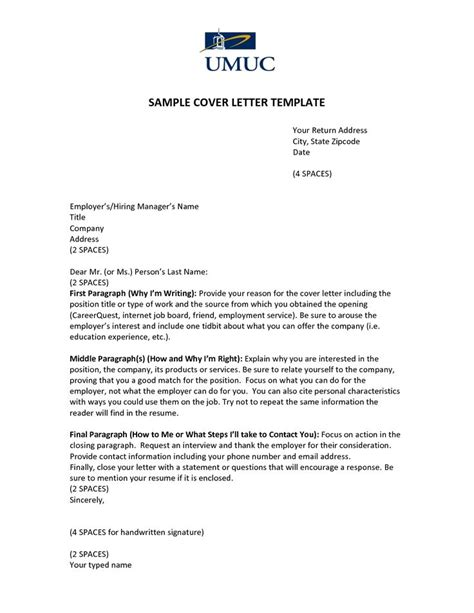 sample cover letter template umucover let ter template
