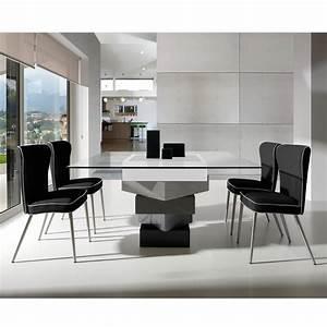 Table a manger carree en bois laque et verre longueur for Meuble salle À manger avec table salle a manger carree design