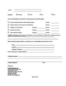 1 Page Resume Template Substance Abuse Assessment Form Free