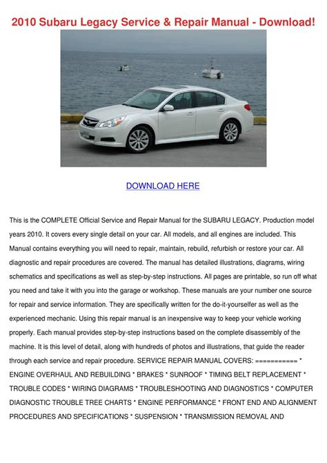 car repair manuals online pdf 2010 subaru legacy user handbook 2010 subaru legacy service repair manual down by israelcrayton issuu