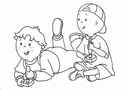 Coloring Caillou Pages Playing Printable Children Cool