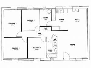 plan de maison 4 chambres salon With plan de maison avec 4 chambres