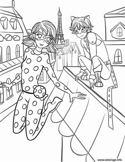 Coloriage Miraculous Dessin Amoureux Ville Paris Dans