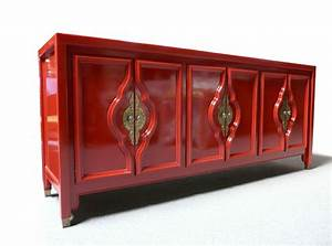 Red lacquered sideboard mid century modern hollywood for Paint lacquer furniture