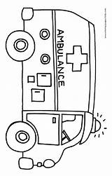 Coloring Ambulance Printable Bus Transportation Sheets Preschool Helpers Emergency Colouring Clipart Theme Services Vehicles Drawing Fire Found Template Activities Crafts sketch template