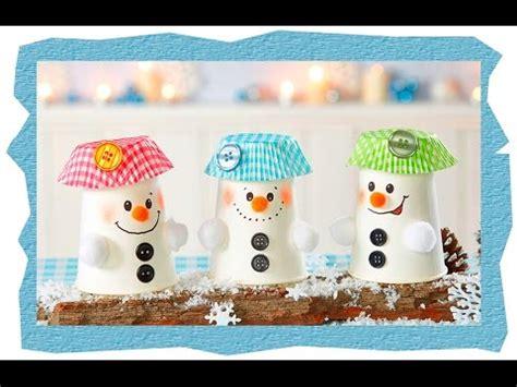 winter basteln mit kindern unter 3 pappbecher schneem 228 nner basteln mit kindern