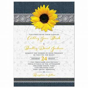 Denim and Lace Sunflower Wedding Invitation