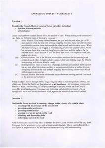 50 Forces Worksheet 1 Answer Key