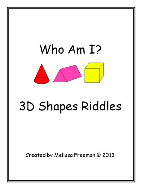 color riddles 3d shape riddles school stuff 3d shapes math