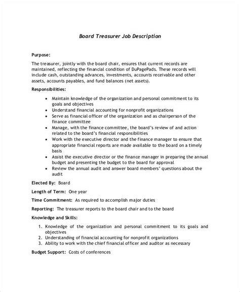 10 treasurer description templates in pdf free