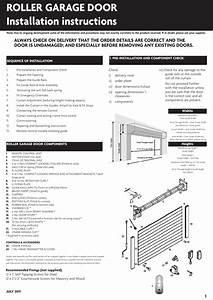 Roller Garage Door Installation Instructions