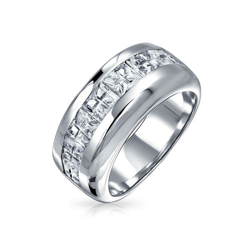 wide wedding band ring invisible cut channel sterling silver cubic zirconia wedding band