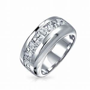 Sterling silver wedding band invisible cut cz unisex mens ring for Ring mens wedding