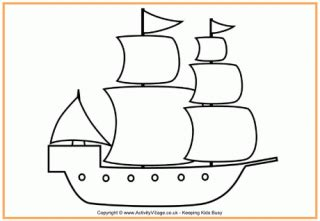 How To Draw A Pilgrim Boat by Motor Boat Colouring Page