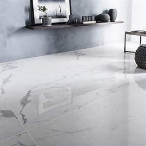 Resine Sol Blanc Brillant : carrelage sol et mur blanc effet marbre rimini x l ~ Premium-room.com Idées de Décoration